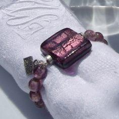 Rond de serviette Cristaline prune