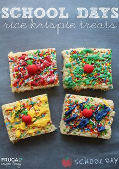 School Rice Krispie Treats Recipe on Frugal Coupon Living - a fun idea for a classroom snack!