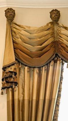 Formal draperies with lion holdback. custom draperies available DesignNashville
