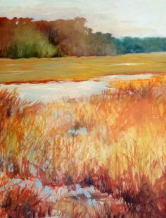 Marsh, Fall Scene - 24x36 oil on canvas by artist Carly Hardy
