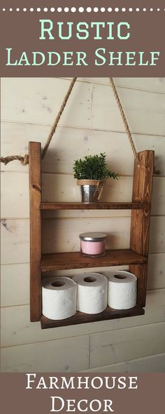 This farmhouse shelf is a great wall décor addition to any room. It can be used in the bathroom, living room, bedrooms, and even in the kitchen to store those coffee cups or spices. farmhouse decor, rustic, ladder shelf, home decor ides, diy, budget, trendy, afflink