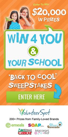 Win BIG, healthy prizes for your family & your school from Cabot Cheese, eMeals, Soap.com, Blue Avocado and more! Click >> http://volunteerspot.com/enter