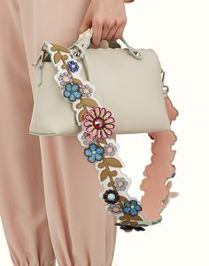 FENDI STRAP YOU - Shoulder strap in multicolored leather with flowers - view 2 detail