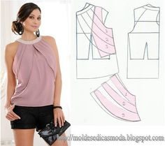 Risultati immagini per moldesedicasmoda Fashion Sewing, Diy Fashion, Ideias Fashion, Fashion Tips, Diy Clothing, Sewing Clothes, Blouse Patterns, Clothing Patterns, Costura Fashion