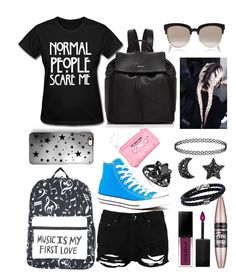 """""""🔵◾️💋"""" by divergent-music on Polyvore featuring Lazy Oaf, Boohoo, Converse, Rianna Phillips, DKNY, Smashbox, L'Oréal Paris, Phillip Gavriel and Christian Dior"""