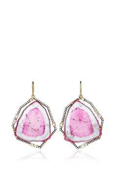 One Of A Kind Bicolor Tourmaline Slice Earrings by Jemma Wynne for Preorder on Moda Operandi