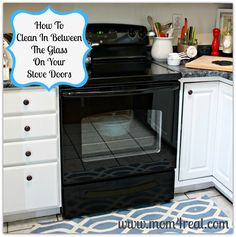 I have been trying forever to figure out how to do this! I get my oven all clean and I have 2 streaks running down the inside! Now I can get rid of them! cl  Mom 4 Real: How To Clean In Between The Glass On Your Stove Doors
