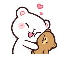 LINE Official Stickers - Milk & Mocha: Affection Example with GIF Animation Cute Hug, Cute Love Gif, Hug Cartoon, Cartoon Pics, Cute Couple Cartoon, Cute Love Cartoons, Cute Bear Drawings, Kawaii Drawings, Cartoon Drawings