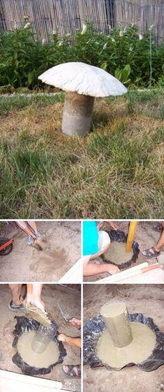 DIY Concrete Mushrooms.