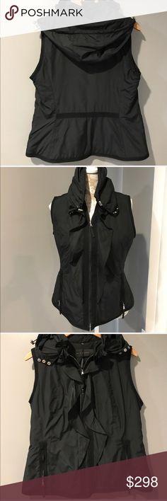 Elie Tahari Neena Vest w/Removable Hood  NWT Elie Tahari Neena Vest w/Removable Hood  Ruffle Detail in Front (see photo) & Side Pockets NWT M Black/Silver Zipper Elie Tahari Jackets & Coats Vests