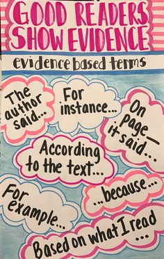 Good Readers Show Evidence Anchor Chart