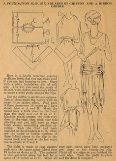 The Midvale Cottage Post: Home Sewing Tips from the 1920s - Creating an Evening Frock from Draped Squares
