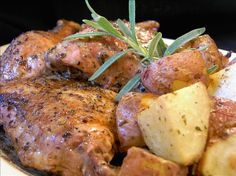 Baked Balsamic Chicken - using Oregano White Balsamic Vinegar and adding carrots, onions and potatoes to the baking dish