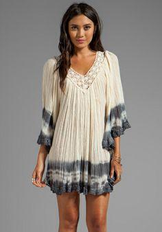 JEN'S PIRATE BOOTY Nuevo Stevie Dress in Natural/Storm Edge Dye - Bohemian