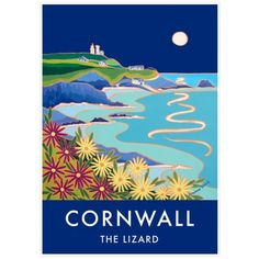 Vintage Style Seaside Poster by Joanne Short of Lizard Point and Lighthouse in Cornwall. From £23