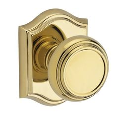Baldwin HDTRATAR003 Polished Brass Traditional Single Dummy Knob with Traditional Arch Rose Baldwin
