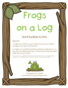 CVC Frogs on a Log from Tales of a Teacherista: Word Work