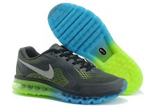Charcoal Blue Green Silver Nike Air Max 2014 Men's Running Shoes Discount #Wholesale for Grils in Summer 2014