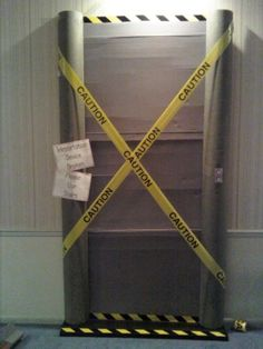 """VBS space theme: our """"broken"""" teleporter!  The sign reads """"Please use stairs"""""""