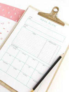 Monthly Goal Planner. Goals sheet printable. Goal planner