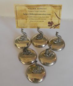 Vintage Maltese Silver place card holders by FeliceSereno on Etsy, $120.00