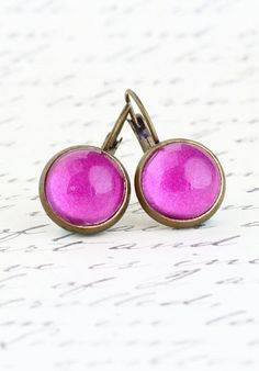 Gift For Mom Brass Leverback Earrings Magenta