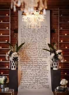 Wedding idea...a handwritten backdrop of couple's vows for the alter. Laura Hooper Calligraphy