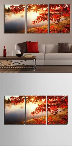 split / (painting can be expanded, to cover end to end) Feature Wall Idea, wall art Home Decor via ¿Qué te parece este para tu sala? Triptych Wall Art, Canvas Wall Art, Decoration Table, Paint Designs, Home And Living, Home Projects, Living Room Decor, Sweet Home, Wall Decor