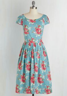 Unmatched Panache Dress in Roses by Emily and Fin - Long, Cotton, Woven, Blue, Red, Floral, Print, Daytime Party, 50s, Short Sleeves, Spring, Better, International Designer, Variation, Pleats, Pockets, Vintage Inspired, Fit & Flare