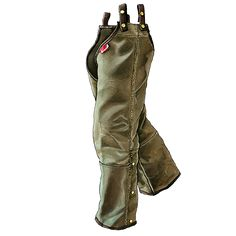 Frost River Hunting Chaps. Waxed Canvas, wide leg openings... don't have to take off the boots. Built in Duluth Minnesota.