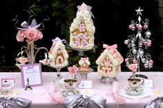 Pink gingerbread house tea party - I know they're not cakes but I just thought they were so cute I'd pin them here