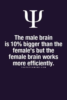 The male brain is 10% bigger than the female's but the female brain works more efficiently.