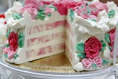 Le Rose Soap cake now cut to reveal the layers. Scented with a blend of Rose that includes absolutes and fragrance in a goats milk cold process soap.