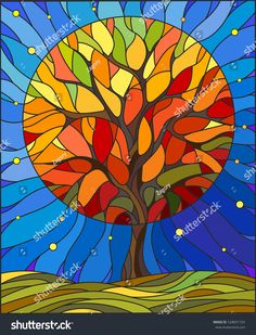 Illustration in stained glass style with autumn tree on sky background with the … Illustration in stained glass style with autumn tree on sky background with the stars Stock Vector – 68049380 Art Sea Glass Art, Stained Glass Art, Tableau Pop Art, Glass Painting Designs, Arte Pop, Art And Illustration, Vector Illustrations, Autumn Trees, Autumn Art