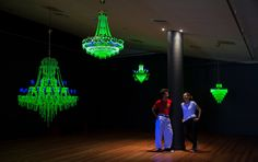 Artists Ken + Julia Yonetani among their glowing chandeliers at #NGAContemporary ! This installation is a provocative response to the Fukushima Daiichi nuclear power plant accident.  Want to know more about their art and practice? Join us for an artist's talk tomorrow at 2pm! (Free, James O Fairfax Theatre)  Otherwise, make sure you check out the exhibition when it opens tomorrow!   Find out more here: http://nga.gov.au/Contemporary/