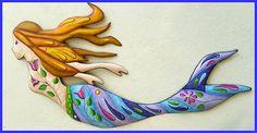 Mermaid Metal Wall Hanging - Recycled Steel Drum Metal Art - Haitian Art -   - Hand painted metal fish wall art.  View at www,tropical-fish-decor.com