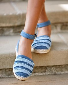 Sole Society STACIE Two Piece Frayed Espadrille with a jute-wrapped sole and features an adjustable ankle strap. #SUMMER #shoes #espadrille #fashion #ad