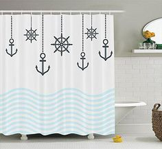 Summer Nautical Anchor Ocean Waves Canvas Shower Curtain White Aqua