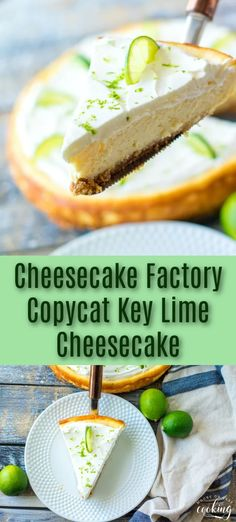 Cheesecake Factory Copycat Key Lime Cheesecake - Moore or Less Cooking Rich and creamy with just the right amount of tanginess, this Key Lime Cheesecake is an easy homemade delight. It's a bright and refreshing sweet treat that's perfect for spring and summer. Cheesecake Factory Pumpkin Cheesecake, Cheesecake Factory Copycat, Key Lime Cheesecake, Cheesecake Desserts, Best Dessert Recipes, Easy Desserts, Delicious Desserts, Cupcake Recipes, Homemade Whipped Cream