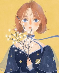 Blossom, series of poetic and delicate illustrations, with women and flowers, illustrator Ashui. Art And Illustration, Texture Illustration, Character Illustration, Character Art, Character Design, Dibujos Cute, Digital Art Girl, Anime Art Girl, Manga Girl