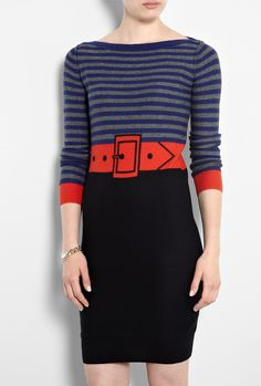 Knitted Cashmere Mix Striped Jumper Dress by Sonia By Sonia