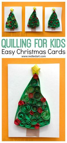 Do It Yourself Houseboat Strategies - Building Your Own Houseboat Quilled Christmas Tree Cards. Love These Fun Christmas Cards For Kids To Make. Every One Is Unique And Different And They Make A Great Introduction To Quilling For Beginners. Quilling Christmas, 3d Christmas, Preschool Christmas, Christmas Crafts For Kids, Christmas Activities, Holiday Crafts, Xmas, Simple Christmas Cards, Christmas Tree Cards