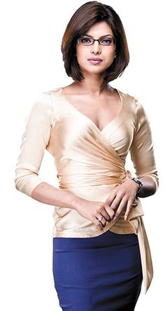 Sharp, short layered hair with a side part and brushed bangs - Priyanka Chopra as Rajni (the Libra) in What's Your Raashee