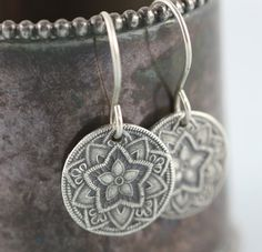 Mandala Star Earrings Recycled Sterling Silver by gooseberrystudio, $36.00