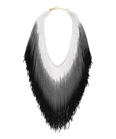 Look at this Reason To Be Pretty Black & Gray Ombré Fringe Necklace on #zulily today!