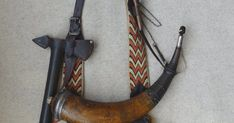 Hunting Pouch and Powder Horn by Gary Birch Pioneer Clothing, Powder Horn, Make An Effort, Leather Projects, Sale Items, Horns, Hunting, Pouch, Bags