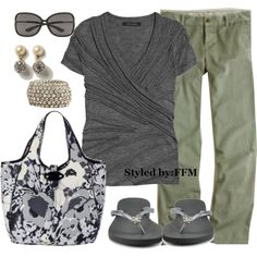 Gray and Green - great for  the weekend.  I could live in flip flops.  ;)