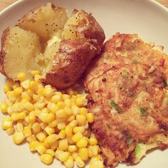 One of my faves! Parsnip & Halloumi fritters with jacket potato & sweetcorn. #dinner