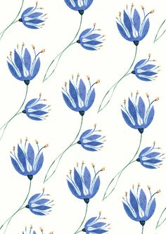kateyjean: Bluebells on a Blue Sunday: A little pattern I put together whilst ferociously work avoiding on my larger picture earlier today.