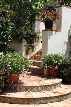 Spanish style front steps with tiles and potted flowers.